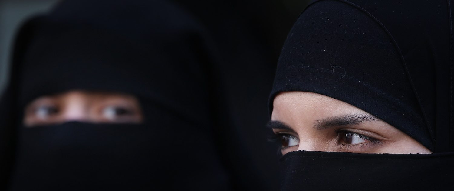 outside the French Embassy on April 11, 2011 in London, England. France has become the first country in Europe to ban the wearing of the the veil and in Paris two women have been detained by police under the new law.