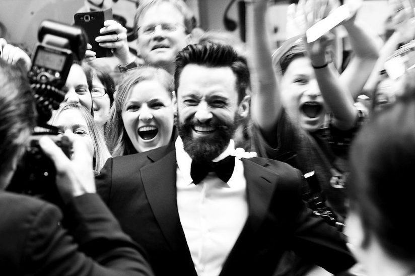 NEW YORK, NY - JUNE 08:  (EDITORS NOTE: Image has been converted to black and white.) Host Hugh Jackman attends the 68th Annual Tony Awards at Radio City Music Hall on June 8, 2014 in New York City.  (Photo by Mike Coppola/Getty Images for Tony Awards Productions)