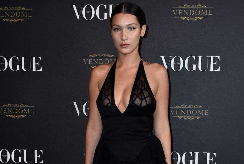 PARIS, FRANCE - OCTOBER 03: (EDITORS NOTE: Image contains nudity.) Bella Hadid attends the Vogue 95th Anniversary Party on October 3, 2015 in Paris, France. (Photo by Pascal Le Segretain/Getty Images for Vogue)