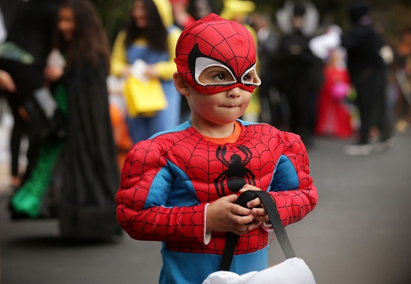 WASHINGTON, DC - OCTOBER 30:  A child dresses as Spiderman as he participates in a Halloween event at the South Lawn of the White House October 30, 2015 in Washington, DC. The first couple hosted local children and children of military families for trick-or-treating at the White House.  (Photo by Alex Wong/Getty Images)