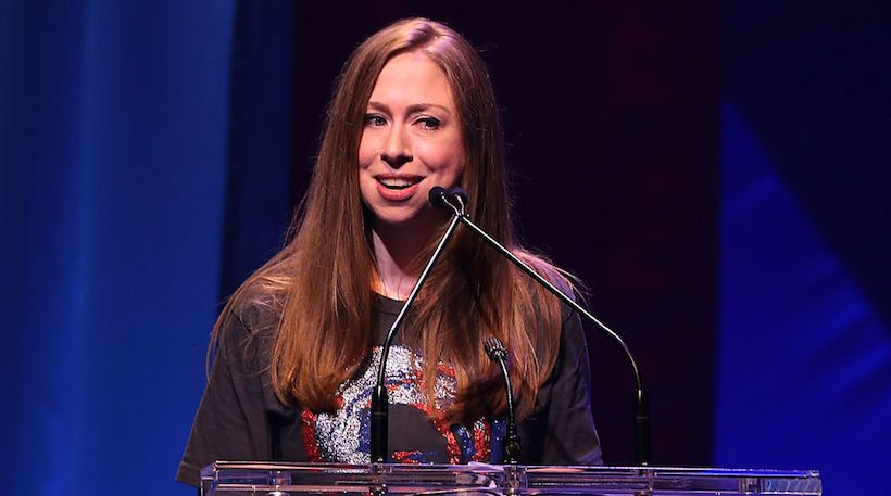 NEW YORK, NY - OCTOBER 17:  Chelsea Clinton speaks during the Hillary Victory Fund - Stronger Together concert at St. James Theatre on October 17, 2016 in New York City. Broadway stars and celebrities performed during a fundraising concert for the Hillary Clinton campaign.  (Photo by Justin Sullivan/Getty Images)