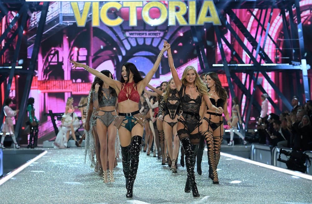 PARIS, FRANCE - NOVEMBER 30:  Adriana Lima, Elsa Hosk and Victoria's Secret models walk the runway during the 2016 Victoria's Secret Fashion Show on November 30, 2016 in Paris, France.  (Photo by Dimitrios Kambouris/Getty Images for Victoria's Secret)