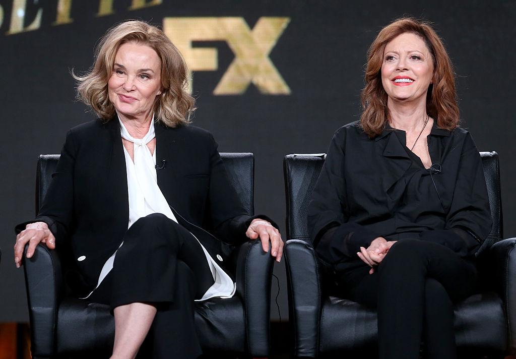 PASADENA, CA - JANUARY 12:  Actresses Jessica Lange (L) and Susan Sarandon of the television show 'Feud' speak onstage during the FX portion of the 2017 Winter Television Critics Association Press Tour at Langham Hotel on January 12, 2017 in Pasadena, California  (Photo by Frederick M. Brown/Getty Images)