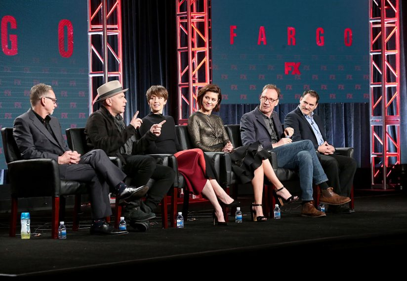 PASADENA, CA - JANUARY 12:  (L-R) Executive producer Warren Littlefield and actors Ewan McGregor, Carrie Coon, Mary Elizabeth Winstead, David Thewlis and Michael Stuhlbarg of the television show 'Fargo' speak onstage during the FX portion of the 2017 Winter Television Critics Association Press Tour at Langham Hotel on January 12, 2017 in Pasadena, California  (Photo by Frederick M. Brown/Getty Images)