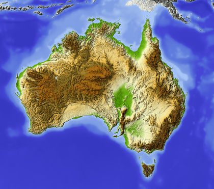 Australia. Shaded relief map, with major urban areas. Surrounding territory greyed out. Colored according to elevation. Includes clip path for the state area.